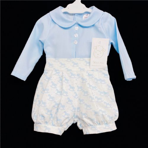 *AW20 Baby Boy Blue Rocking Horse Print Long Sleeve Jam Pants Suit MYD213